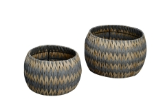 Set of 2 rush and paper storage baskets