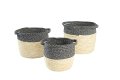 Cotton rope and maize leaf storage baskets